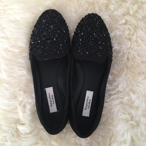 Simply Vera Wang Black Jeweled Loafers